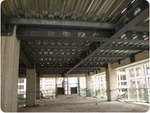 钢结构框架、压型钢板、现浇混凝土组合