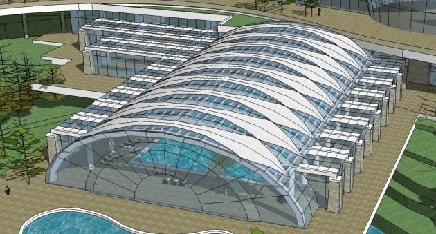 某游泳馆钢结构玻璃幕设计